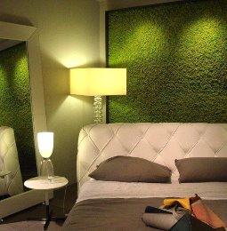 Schlafzimmer grünes Moos